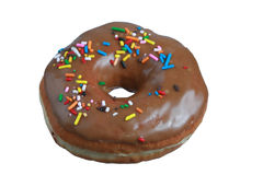 Donut with sprinkles on top. Isolated on white Royalty Free Stock Images