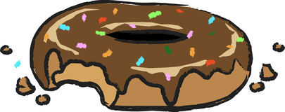 Donut with sprinkles on top. That goes with a cup of coffee Stock Images