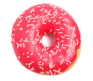Donut with sprinkles on white background. Stock Photography