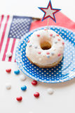 Donut with star decoration on independence day Royalty Free Stock Photo