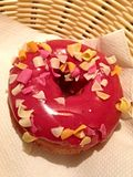 Donut with strawberry cream and fruit crisps Royalty Free Stock Images