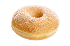 Donut with sugar. Fresh donut with sugar , isolated on white background Stock Photo