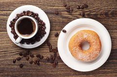 Donut with sugar and coffee Stock Photo