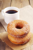 Donut with sugar and coffee Royalty Free Stock Photography