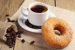 Donut with sugar and coffee Royalty Free Stock Photo