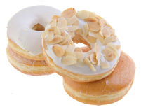 Donut, sweet donut with sugar isolated on background Stock Images