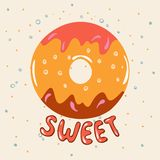 Donut sweet. Hand Lettered Phrase on white background. stock illustration