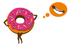Donut. Sweet, naughty donut. Sinful sweet donut. Even pastry is sinful thoughts. Funny vector illustration. Illustration on white background. White background Royalty Free Stock Image