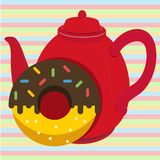 Donut with te. Sweet Donut with hot tea Stock Photography