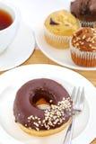 Donut Tea Break Stock Photo