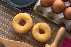 Donut. Top View of Donuts After making the desserts and bakery equipment royalty free stock photos