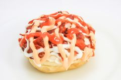 Donut with beef topping royalty free stock photos