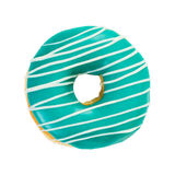 Donut turquoise color with white stripes. Isolated on white background. Top view royalty free stock photography