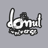 Donut-Universum-weiße Kalligraphie-Beschriftung Lizenzfreie Stockfotos