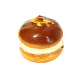 Donut with vanilla, chocolate and roasted almonds Royalty Free Stock Photography
