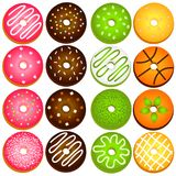 Donut variety. Donuts variety on transparent background Royalty Free Stock Images