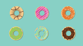 Donut with various taste and topping flat style Royalty Free Stock Photography
