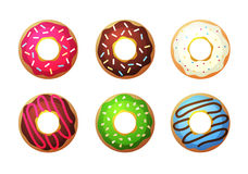 Donut vector set. Colored donuts with cream and glaze. Sweet food Stock Photos