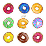 Donut vector set isolated on white background Stock Photography