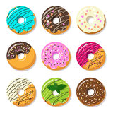 Donut vector set  on a white background in a modern flat style Royalty Free Stock Photography