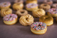 Donut - very narrow DOF. Lots of donuts - very narrow DOF royalty free stock image