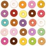 Donut-Vielzahl-Geschmack-Aroma-Sammlung Lizenzfreies Stockfoto