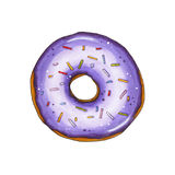 Donut with violet glaze and sprinkles. Hand drawn marker illustr Royalty Free Stock Photo