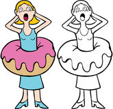 Donut Weight Gain. Woman regrets eating a donut that makes her feel fat  - both color and black / white versions Stock Photos