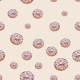 Donut with white cream Hand drawn sketch on pink background. seamless pattern vector Royalty Free Stock Photos
