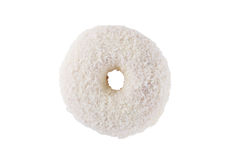 Donut in white frosting and coconut flakes. Isolated on a white background top view stock photo