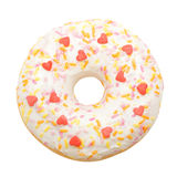 Donut with white icing colored topping, isolated Royalty Free Stock Photos