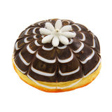 Donut with white marzipan flower Stock Photos