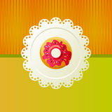 Donut on a white napkin. Cookies on a white napkin om green background Royalty Free Stock Photography
