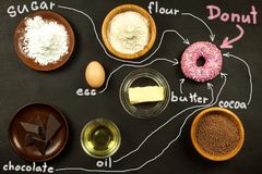 Donut on a wooden board. Ingredients for making donuts. Sweet breakfast. Risk of obesity. Stock Photo
