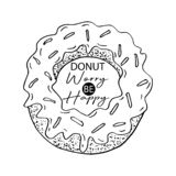 Donut worry be happy. Design element for greeting cards, decoration, prints and posters royalty free illustration
