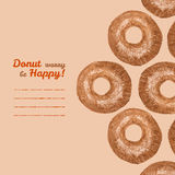 'Donut worry be Happy' invitation. Donut illustration. Donuts Pencil sketch. Royalty Free Stock Image