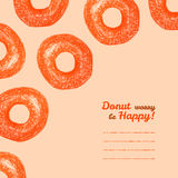 'Donut worry be Happy' text frame. Donuts. Colored Pencils Drawing. Royalty Free Stock Images