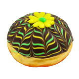 Donut with yellow marzipan flower Stock Images