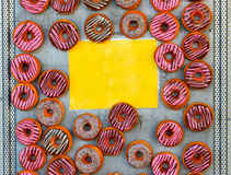 Donut and Yellow Sign Stock Image