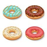 Donutnachtischsatz Lizenzfreies Stockfoto