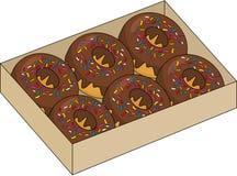 Donuts μέσα στο κιβώτιο που απομονώνεται στο άσπρο υπόβαθρο Απεικόνιση ράστερ ελεύθερη απεικόνιση δικαιώματος