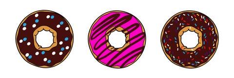Donuts με την καφετιά σοκολάτα και το ρόδινο λούστρο διανυσματική απεικόνιση