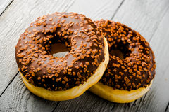 Donuts με τη σοκολάτα Στοκ εικόνα με δικαίωμα ελεύθερης χρήσης
