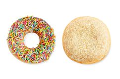 Donuts σε μια άσπρη ανασκόπηση στοκ φωτογραφίες
