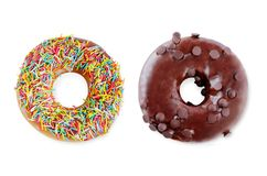 Donuts σε μια άσπρη ανασκόπηση στοκ εικόνες