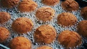Donuts στο βράζοντας πετρέλαιο σε μια βαθιά fryer κινηματογράφηση σε πρώτο πλάνο Μαγείρεμα, γρήγορο φαγητό φιλμ μικρού μήκους
