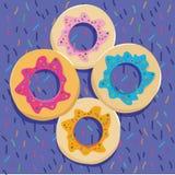 Donuts στο ζωηρόχρωμο backgound Στοκ Φωτογραφίες