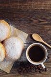 Donuts берлинца и кофейная чашка Стоковые Изображения RF