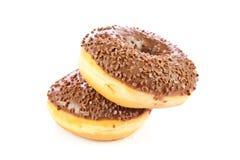 Donuts изолированные на белом тесте донута предпосылки Стоковая Фотография