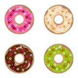 Donuts, комплект donuts Помадка, торт, печенья, сливк иллюстрация вектора